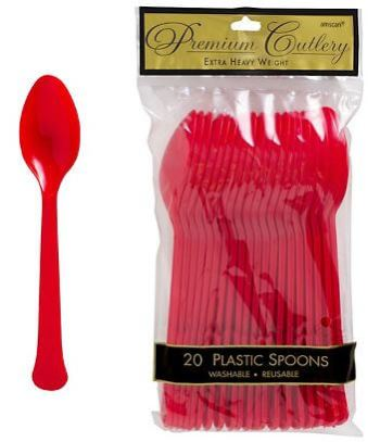Spoons Premium Plastic Apple Red - 20CT-0
