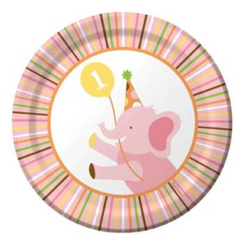 """Sweet at 1 Birthday Girl Snack Plates 7"""" - 8CT-0"""