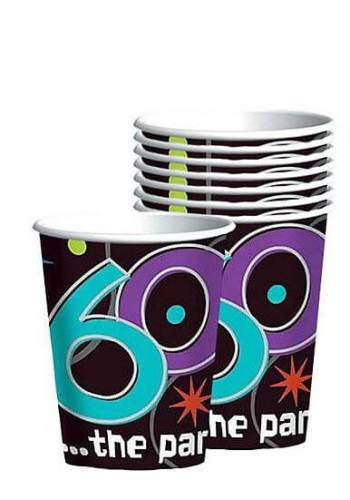 60th Birthday 9oz Paper Cups - 8ct-0