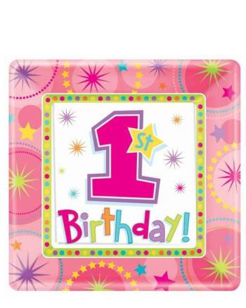 """10"""" Square Plate One-derful Birthday Girl-0"""