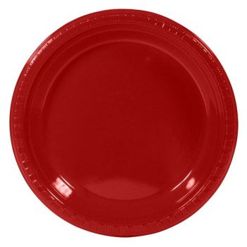 "7"" Premium Plastic Apple Red Plates - 10PC-0"