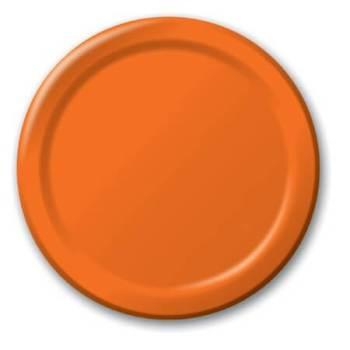 """7"""" Premium Plastic Orange Plates - 20CT-0"""