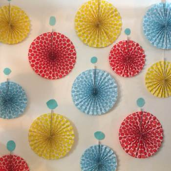 Polka Dot Fan Assorted Color - 6CT-0