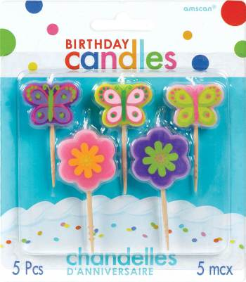 """""""2.5"""""""" B'Day Toothpick Candles Flowers & Butterflies - 5CT""""-0"""
