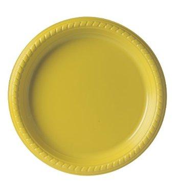 "9"" Premium Plastic Yellow Plates - 20CT-0"