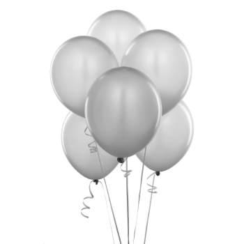 "Metallic White Latex Balloons 12"" - 100CT-0"