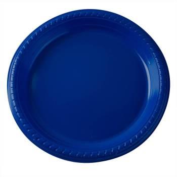 """10"""" Premium Plastic Royal Blue Round Plates - 10CT-0"""