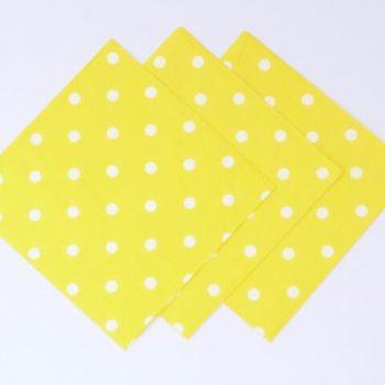 Polka Dot Paper Napkins Yellow - 20 PC-0