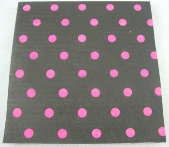 Polka Dot Paper Napkins Black & Pink - 20 PC-0