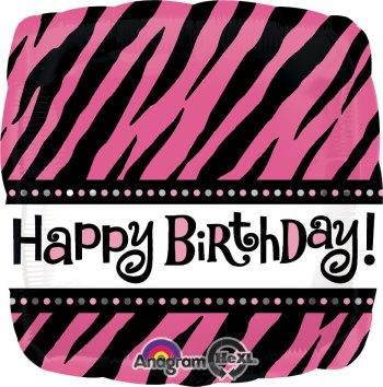 "Fabulous Birthday Pink & Black Stripes 18"" S40-0"