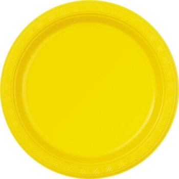 "10"" Premium Plastic Yellow Round Plates - 10PC-0"