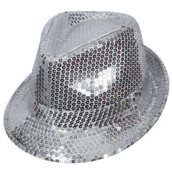 Sequin Fedora Hat Silver-0