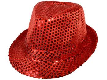 Sequin Fedora Hat Red-0