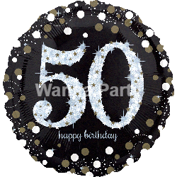 "50th Birthday Sparkling Balloon 28"" P40-0"