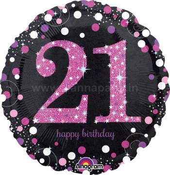 "21st Pink Birthday Balloon 18"" S55-0"