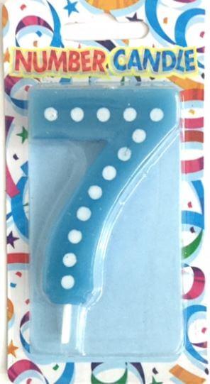 """Polka Dot 7 Candle Blue 4""""-0"""