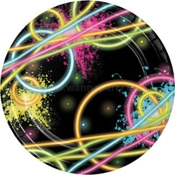 "Glow In The Dark Dessert Plates 7"" - 8PC-0"