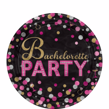 "Bachelorette Metallic Dessert Plates 7"" - 8PC-0"