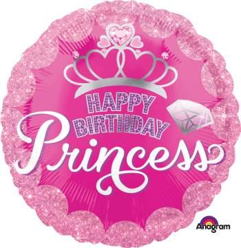 "HBD Princess Crown & Gem Balloon 18"" S40-0"