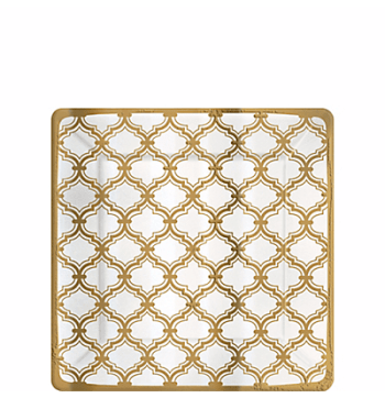 """Sparkling Gold Quterfoil Dessert Plates 7"""" - 8PC-0"""