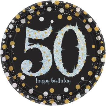 "50th Birthday Sparkling Paper Plates 9"" - 8PC-0"