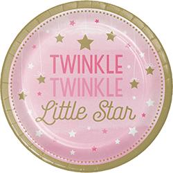 """Twinkle Twinkle Little Star Girl Paper Plates 9"""" - 8PC-0"""