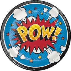 "Superhero Slogans Dessert Plates 7"" - 8PC-0"