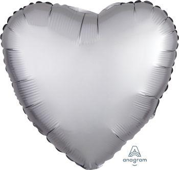 """18"""" Matte Silver Heart Balloon S15-0"""