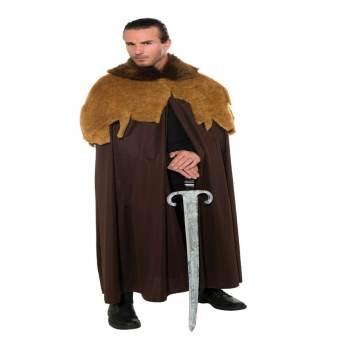 Adult Medieval Warrior Cloak Brown-0