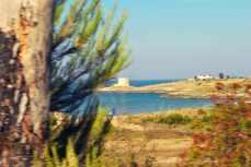 één van de karakteristieke torens langs de kust
