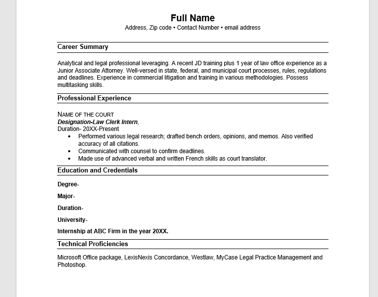 Resume for Law Student