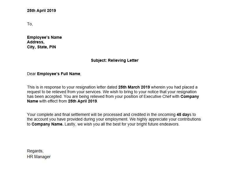 Sample Relieving Letter