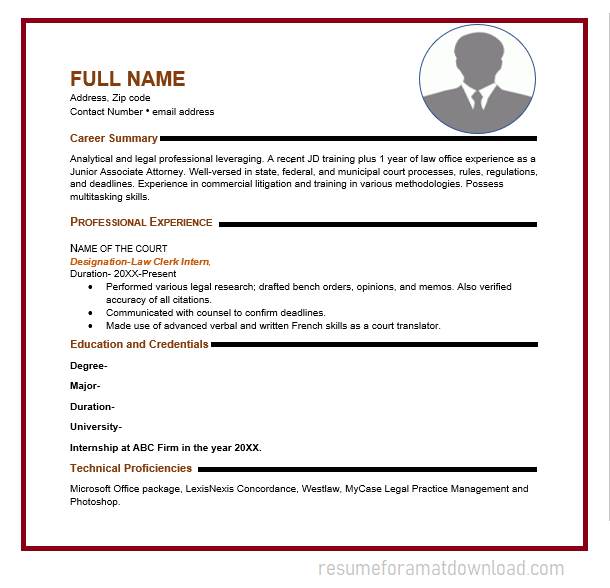 Internship Resume for Administrative law intern