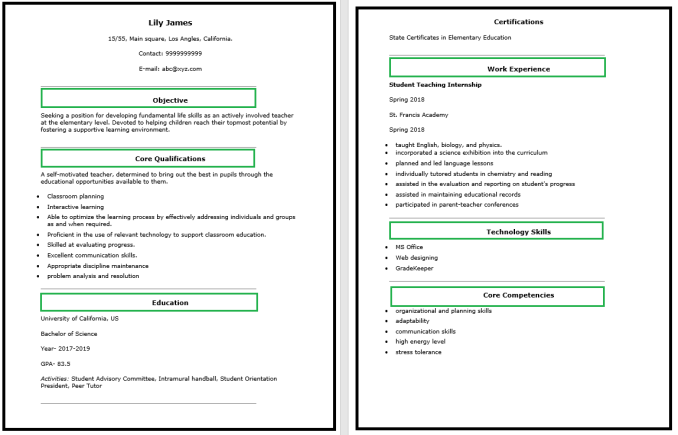 Teacher Resume Word Template