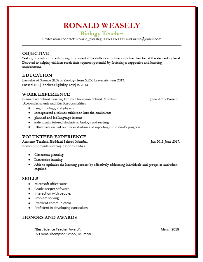 Resume for Biology Teacher