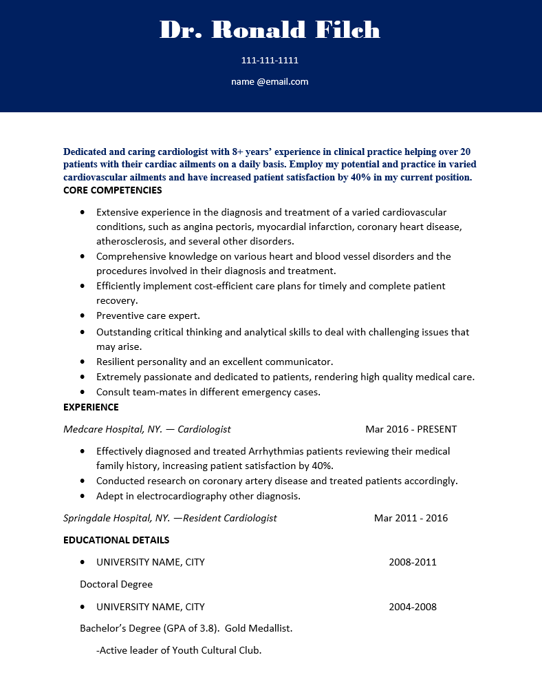 Experienced Cardiologist Doctor Resume