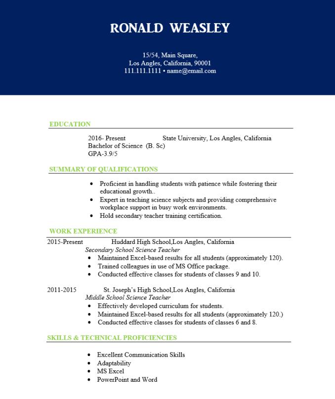 Experienced science teacher resume
