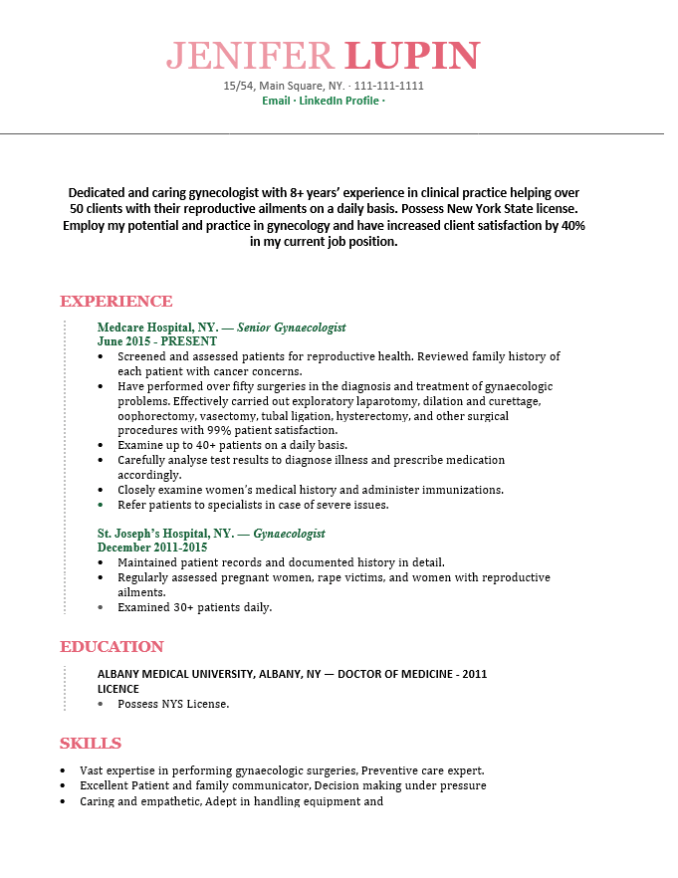 Gynecologist doctor resume