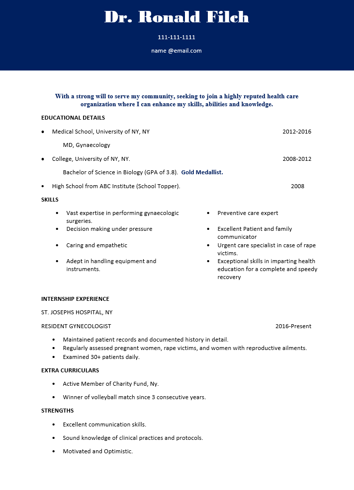 Gynecologist Resume