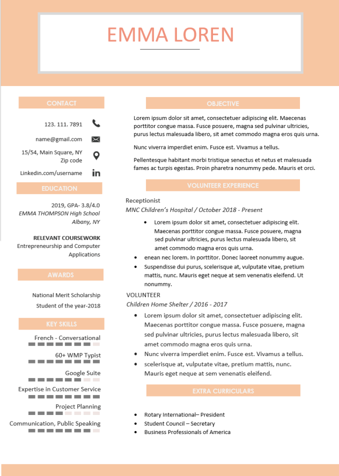 Pretty Peach Resume Template
