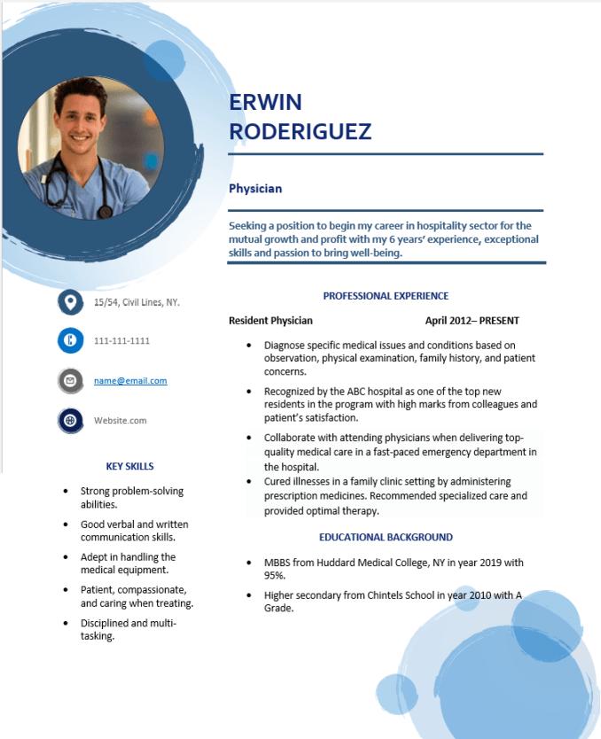 Resident physician resume
