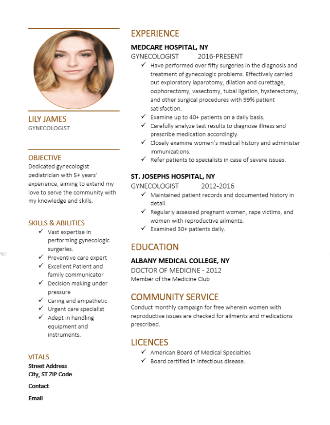 Resume for Gynecologist