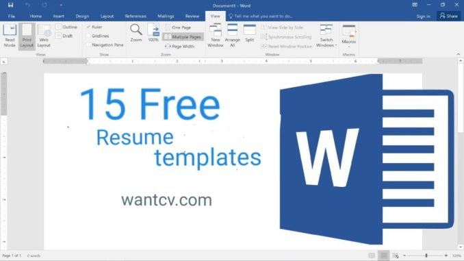 15 Best Resume Templates Word Free Download 2019 - Wantcv.com