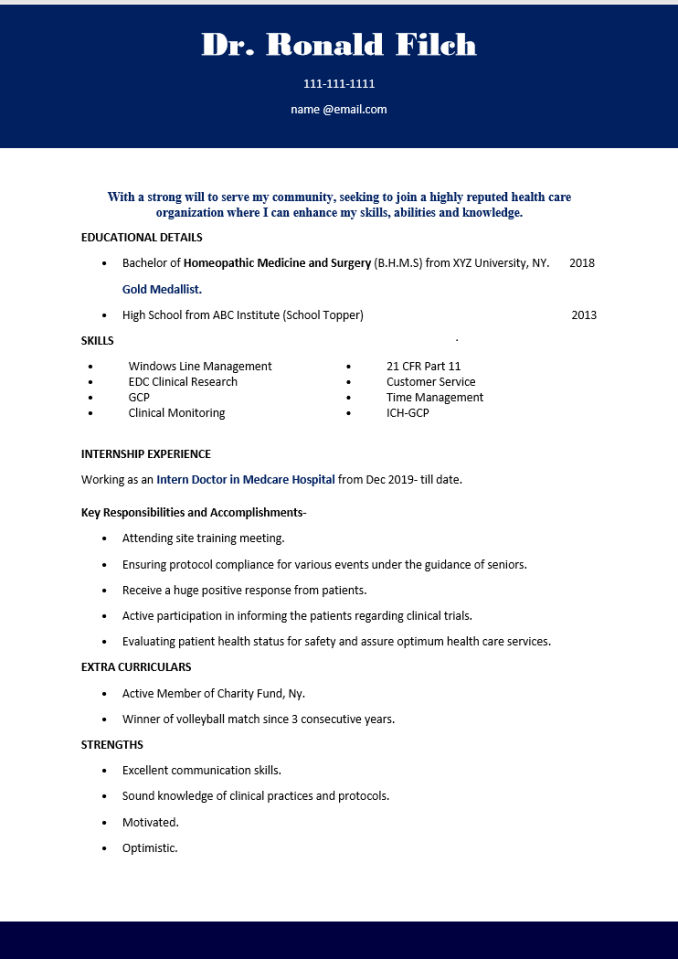 resume for physician assistant