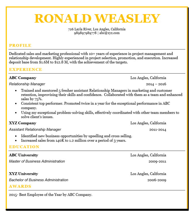 Latest 5 Relationship Manager Resume Pdf Word Format