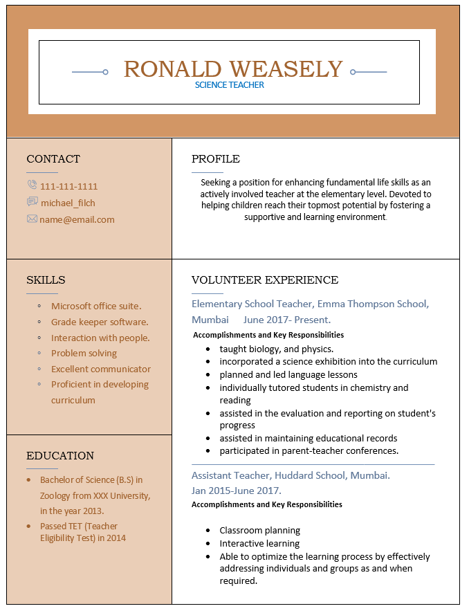 science teacher resume no experience