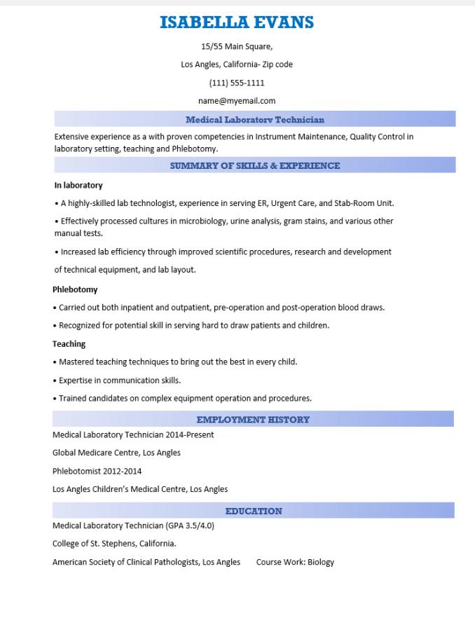 medical lab assistant resume