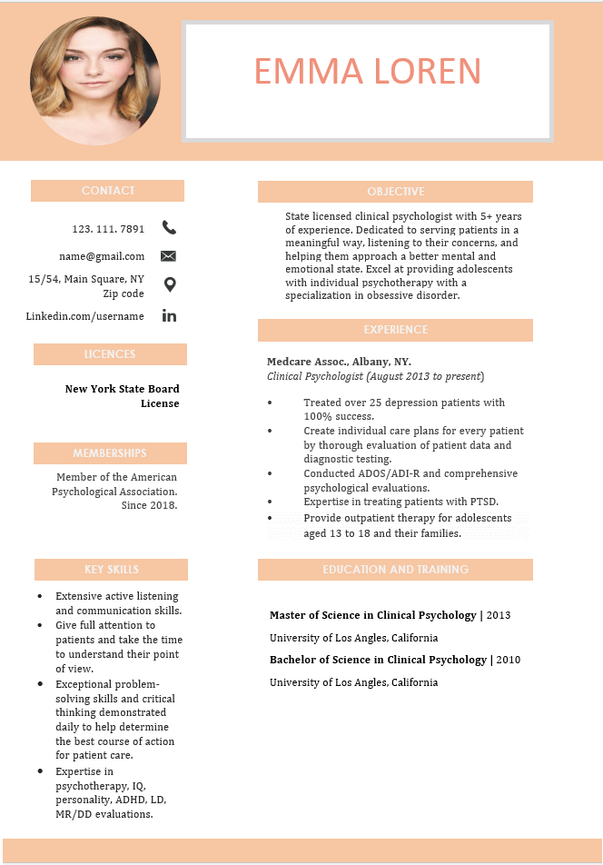 best resume sample for psychologist
