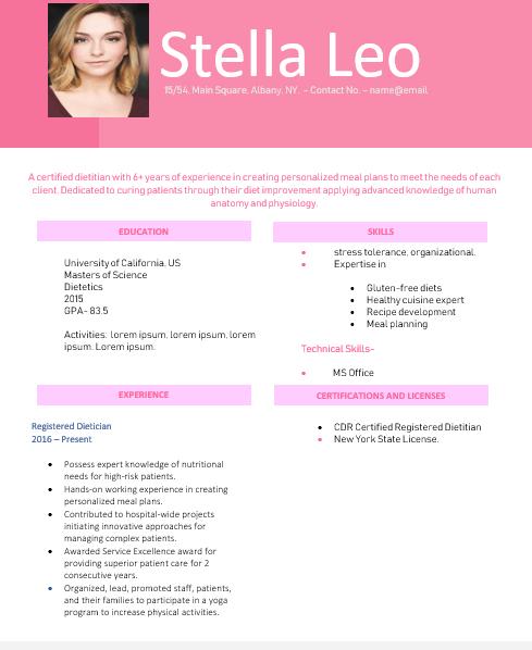 Dietitian nutritionist skills resume
