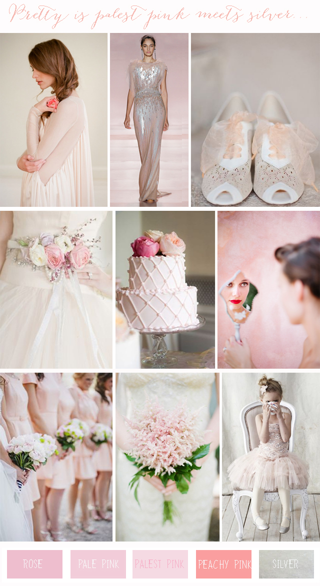 Chic Colour Combinations Pale Pink  Silver  Wedding